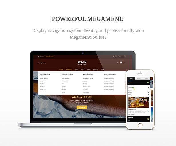 Powerful Megamenu Arden - Modern Brewery & Pub WordPress Theme
