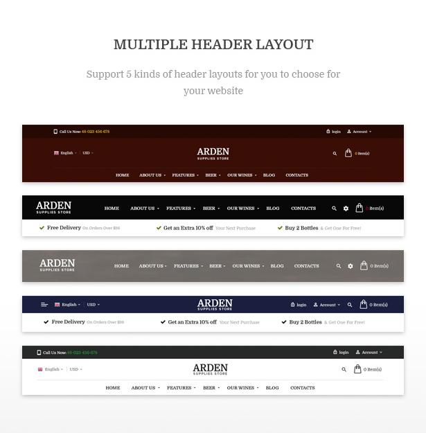 Multiple Header Layouts Arden - Modern Brewery & Pub WordPress Theme