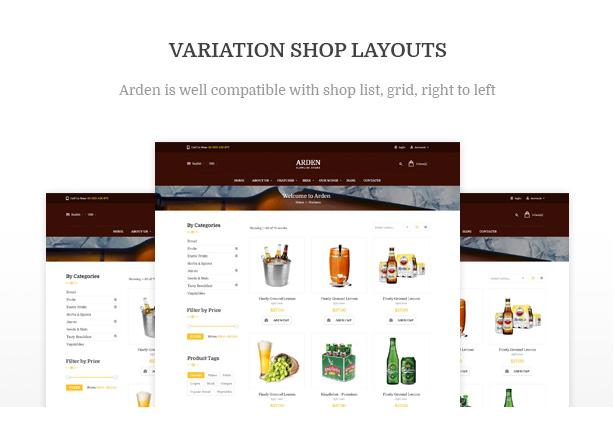 Diverse Shop Layouts Arden - Modern Brewery & Pub WordPress Theme
