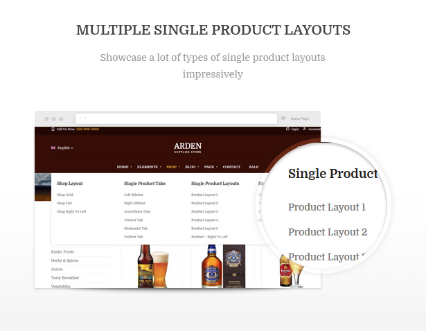 Multiple Single Product Layouts Arden - Modern Brewery & Pub WordPress Theme