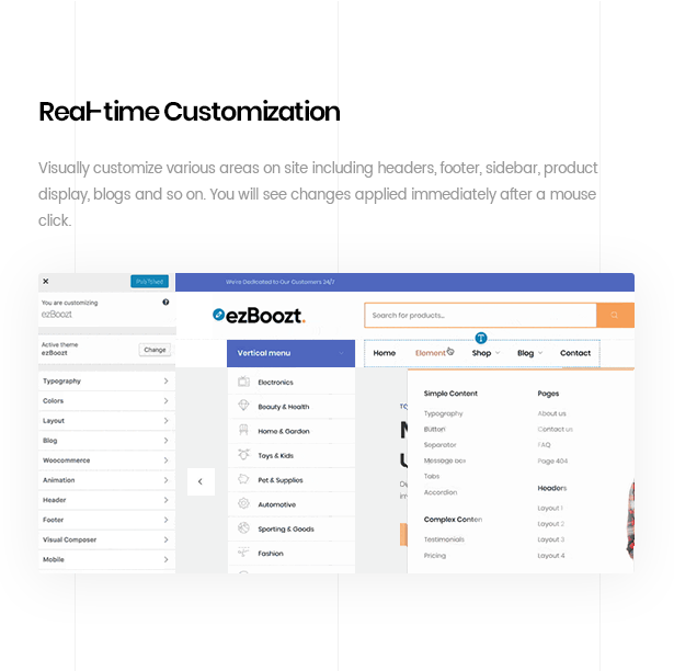 ezboozt woocommerce wordpress theme realtime customization