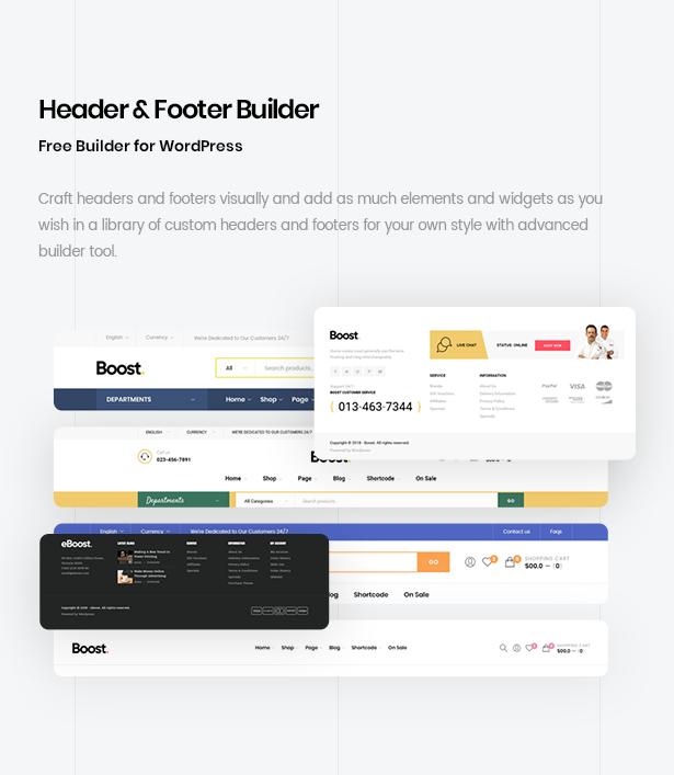 multi wordpress theme header footer builder