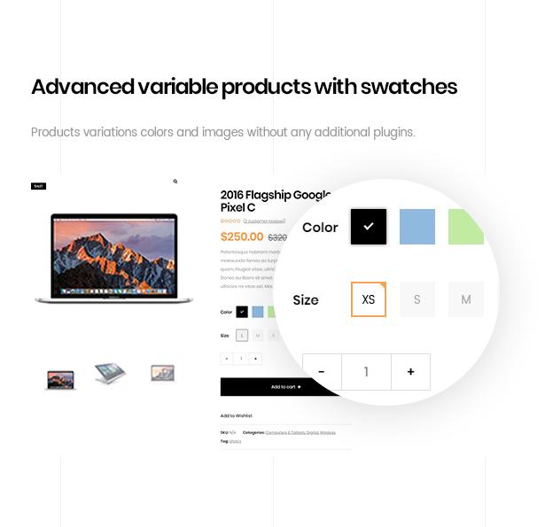 ezboozt wordpress theme advanced variable product color
