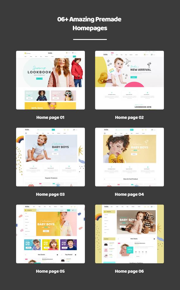 06+ Adorable Ready Homepages Kiddo Baby & Kid Fashion WordPress Theme