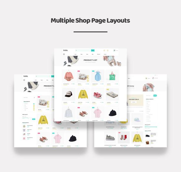 Kiddo Baby & Kids Fashion WordPress Theme - Different Shop Pages Layouts