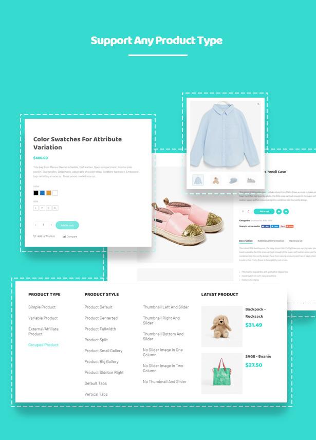 Different Shop Pages Layouts Kiddo Baby & Kids Fashion WordPress Theme