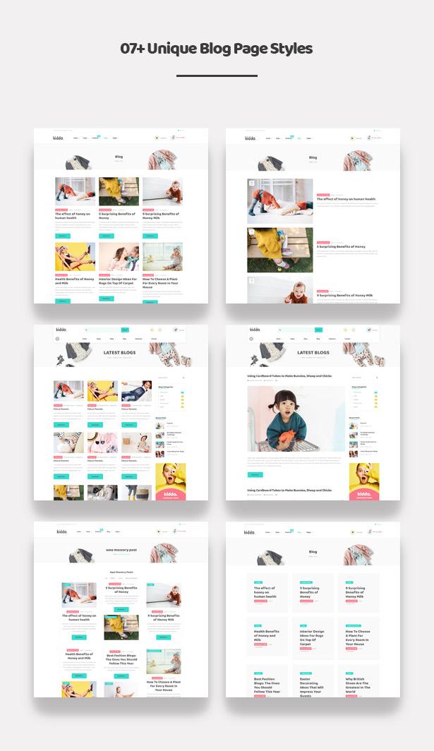 07+ Appealing Blog Styles Kiddo Fashion WooCommerce WordPress Theme for Baby Kids