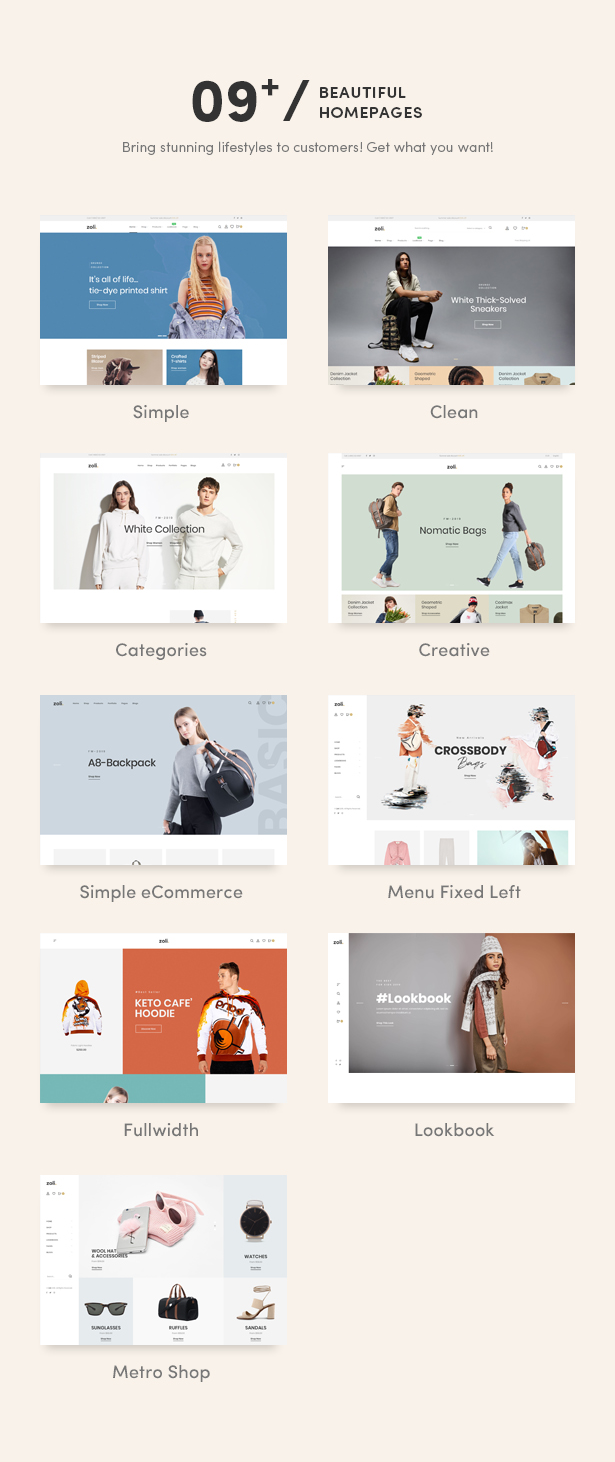 09+ Eye-Catchy Premade Homepages - Zoli - Minimal & Modern Fashion WooCommerce WordPress Theme