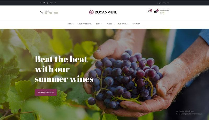 8. Royan Wine best WooCommerce WordPress Theme 2018