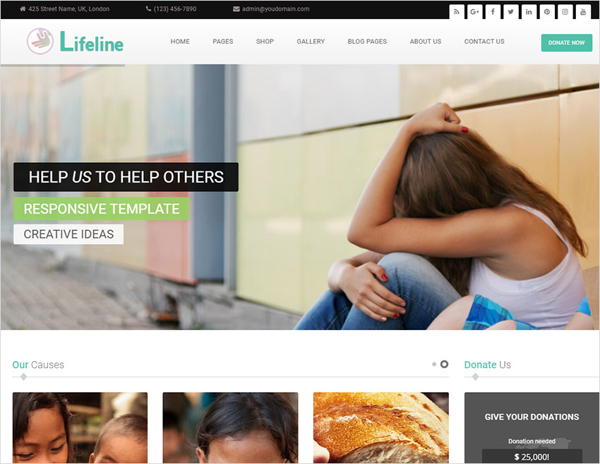 Lifeline - NGO Charity Fund Raising WordPress Theme