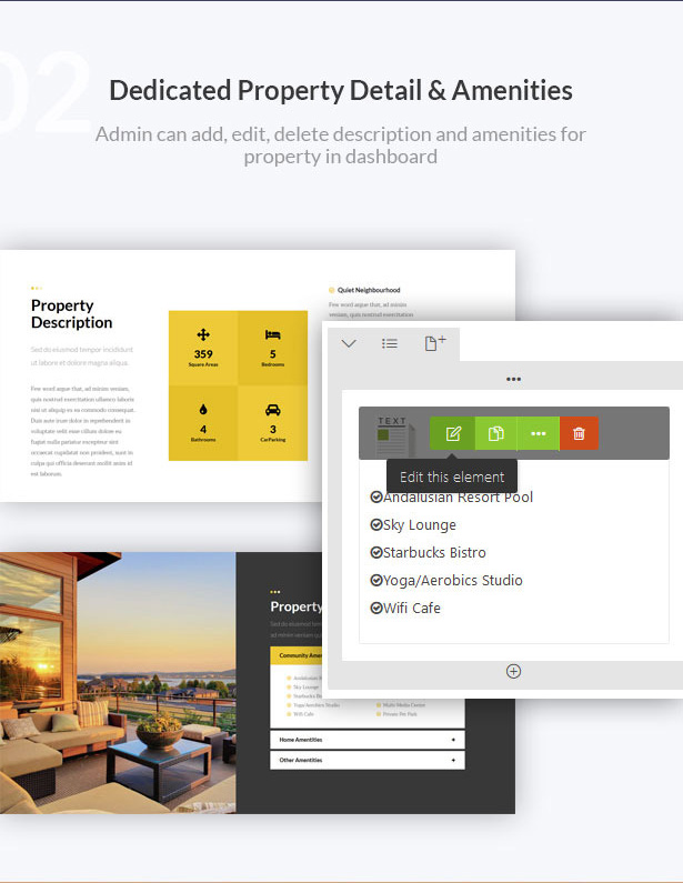 dedicated property detail - amenities-Single Property Real Estate WordPress Theme