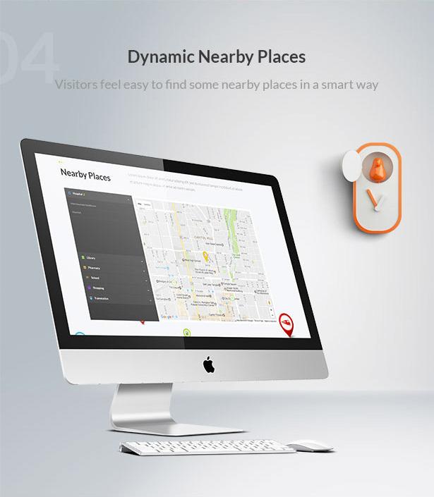 dynamic nearby places-Single Property Real Estate WordPress Theme