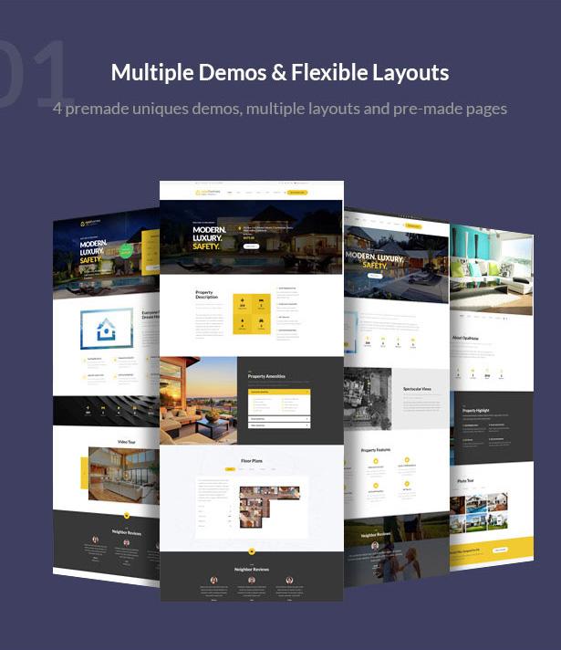 multiple demos - flexible layouts-Single Property Real Estate WordPress Theme