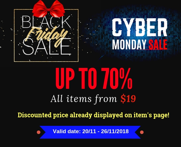 Wordpress black friday & cyber monday sale up to 70%