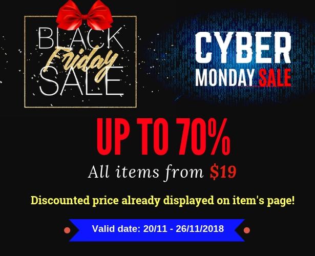 Wordpress black friday & cyber monday sale up to 70%