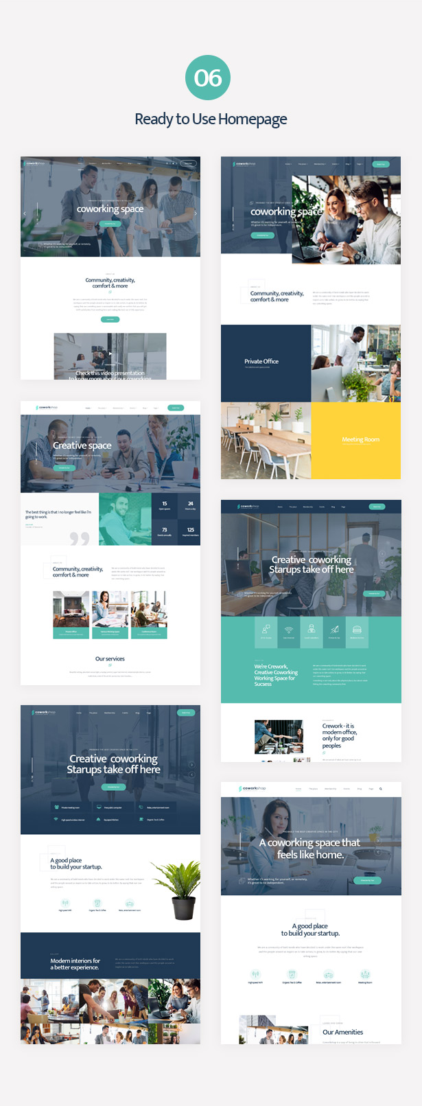 Coworkshop multiple unique premade homepage layouts
