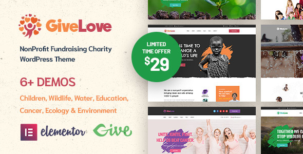 Givelove | Non-Profit, Charity & Crowdfunding WordPress Theme