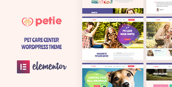 Petie best pet care center WordPress theme 2019