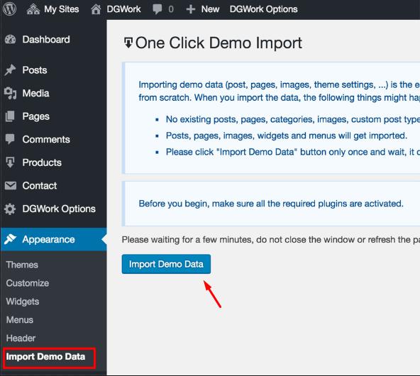 1 click Import Demo Data Button