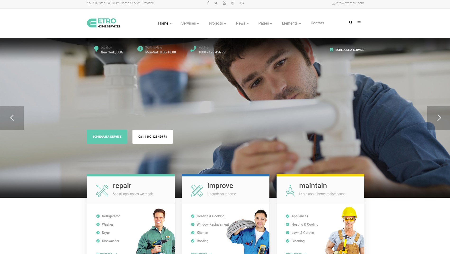 Etro - Home Maintenance, Repair and Improvement Services WordPress Theme