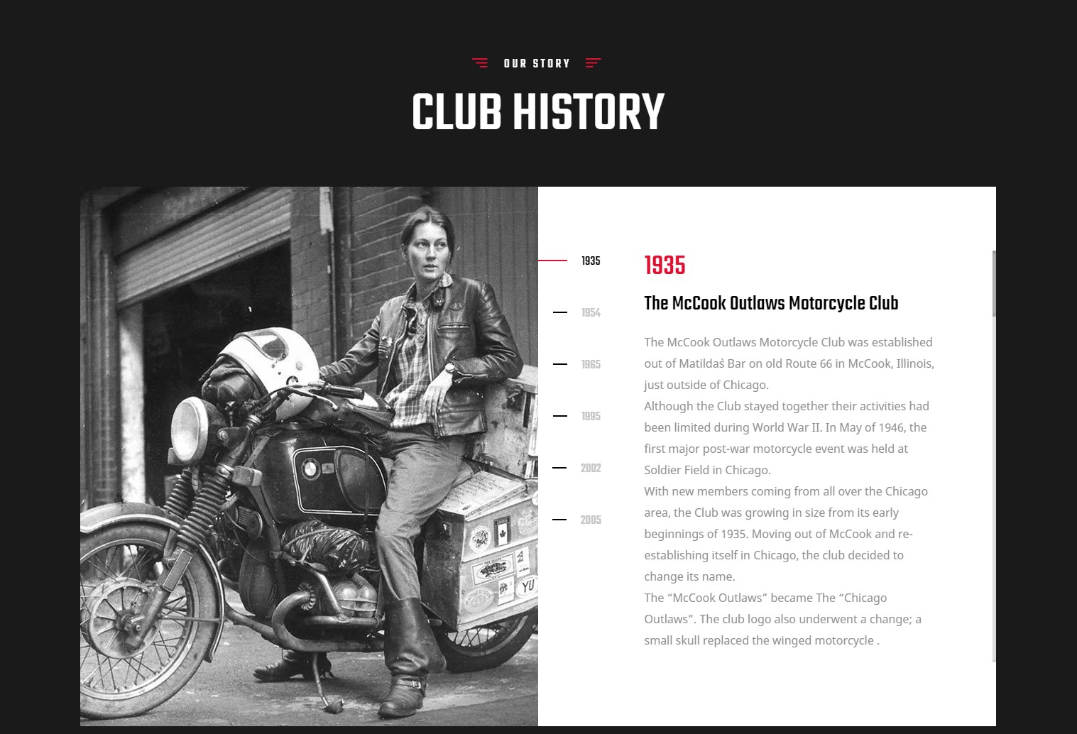 Adorable Club History Biker/ Motorcycle Club/Team