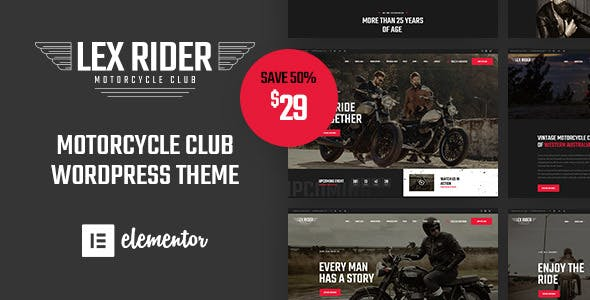 LexRider Motorcycle Club Ecommerce WordPress Theme