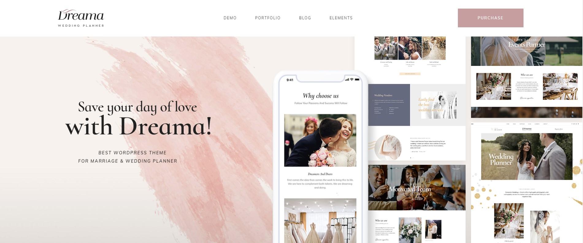 Dreama - Engagement & Wedding WordPress Theme