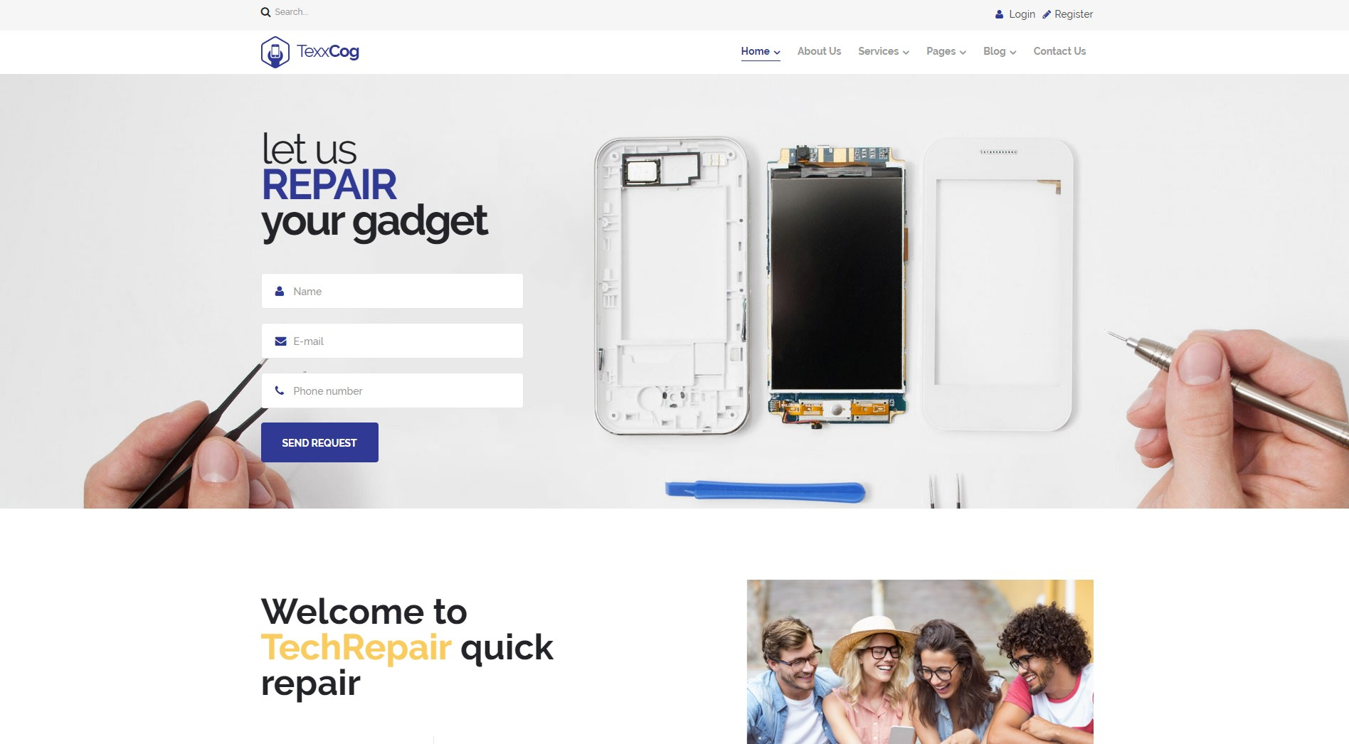Texxcog - Free Computer Repair WordPress Theme