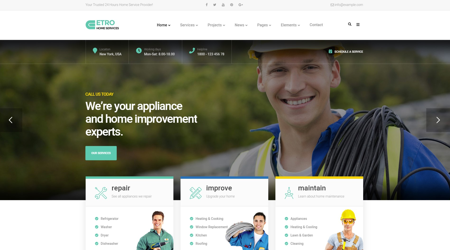Home Maintenance, Repair and Improvement Services WordPress Theme
