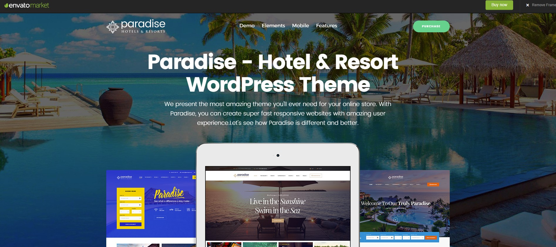 Paradise Hotel & Resort WordPress Theme