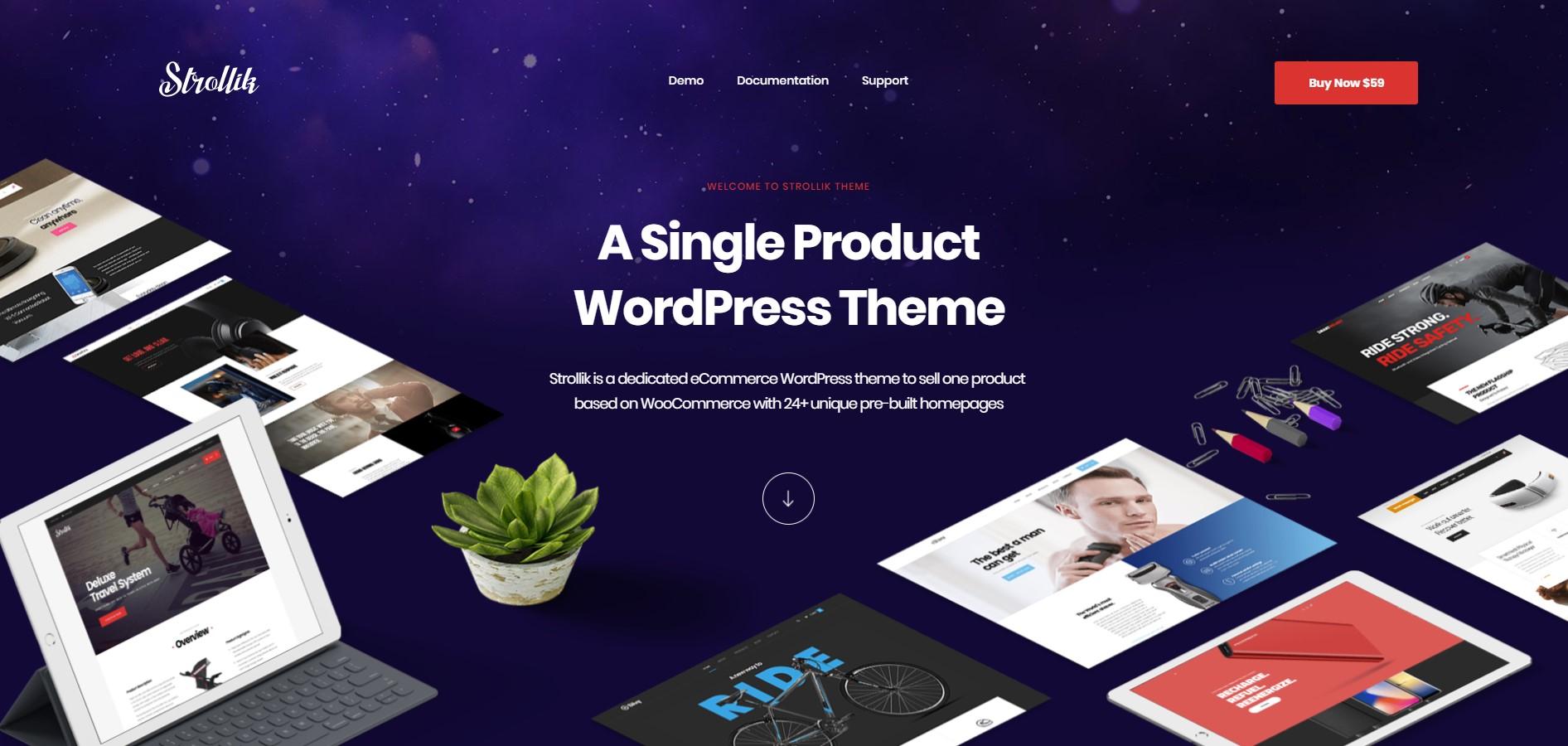 Strollik Single Product WordPress Theme