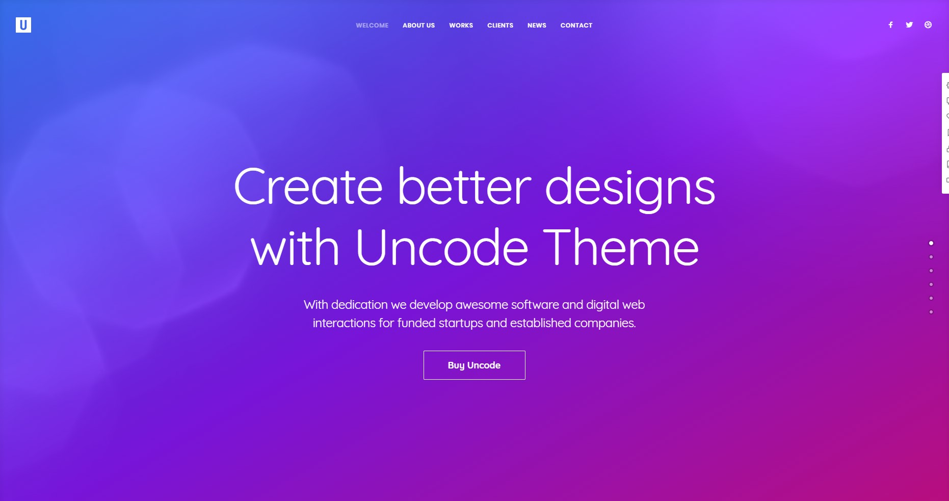 Uncode minimalist WordPress Theme