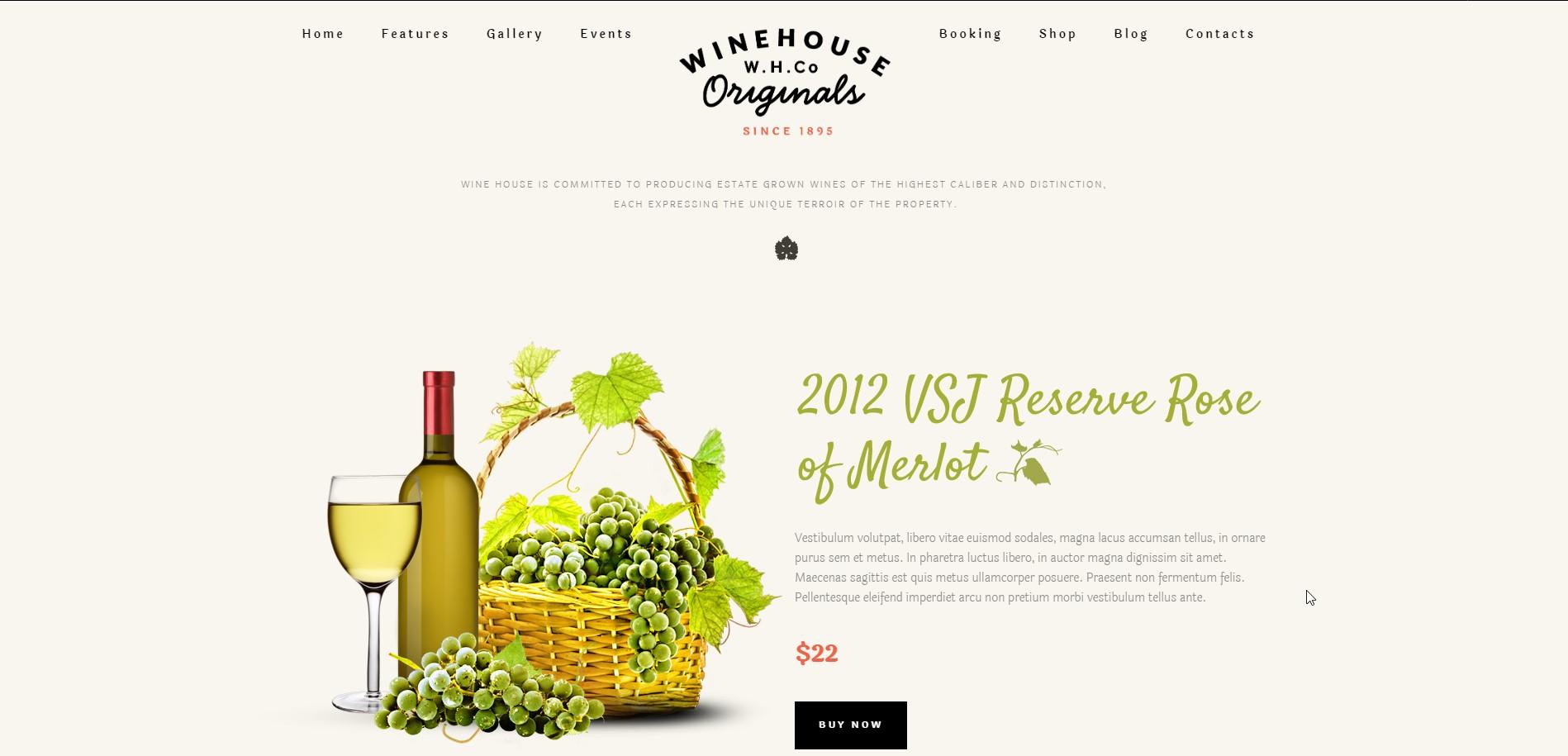 Wine House Winery & Restaurant WordPress Theme