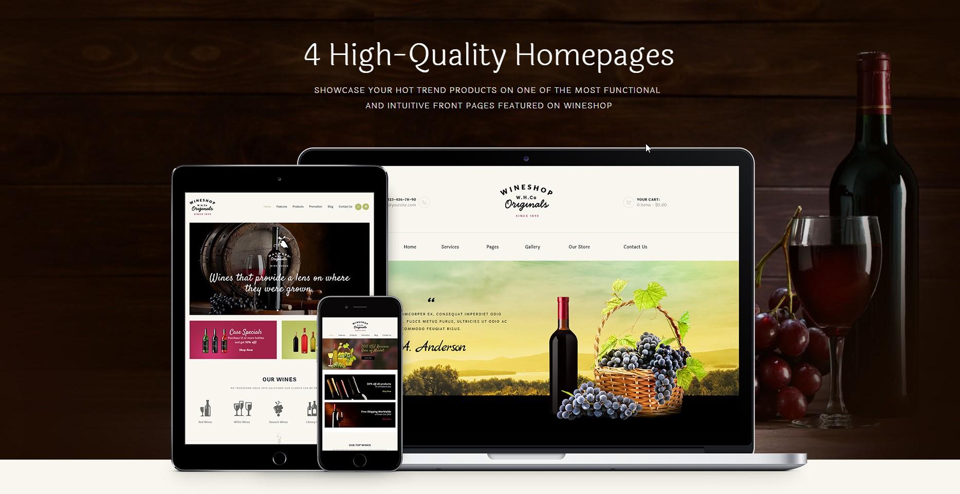 WineShop Food & Wine Online Store WordPress Theme