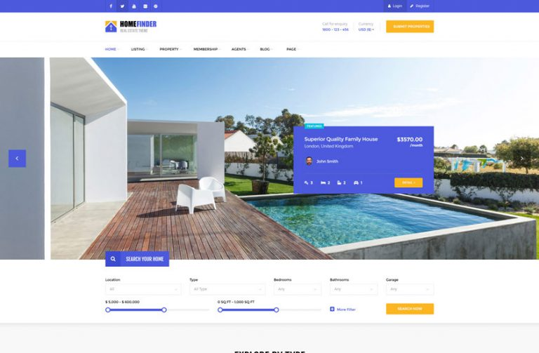 hausfinder real estate wordpress theme1