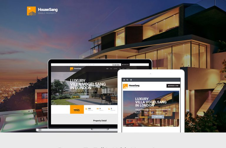 housesang single property wordpress theme