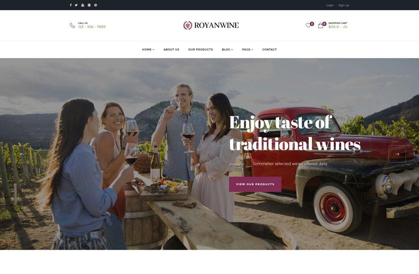 royan wine wine wordpress theme