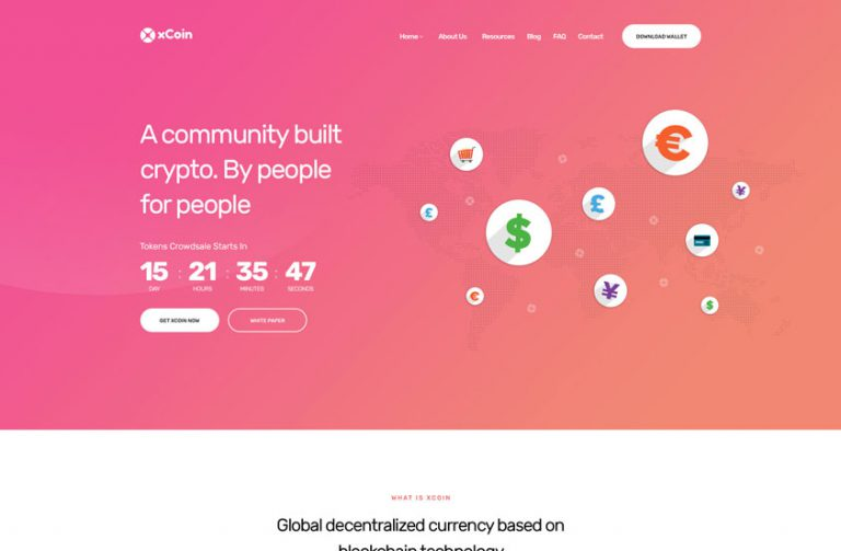 xpexcoin cryptocurrency wordpress theme