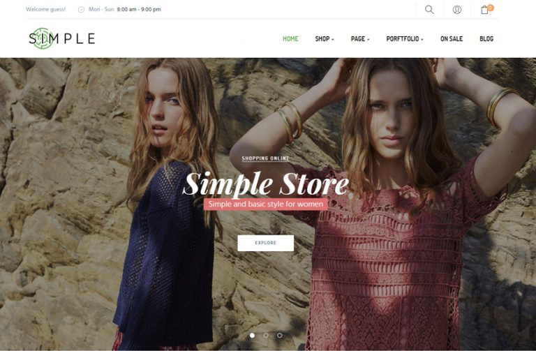 simple fashion store wordpress theme